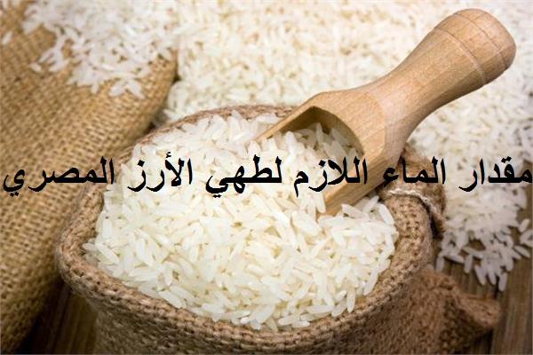 مقدار الماء اللازم لطهي الأرز المصري